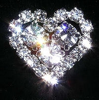 Diamante Button, Crystal Embellishment, Diamante Heart J97 -16mm