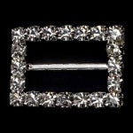 Diamante Ribbon Slider, Crystal Embellishment Rectangle -22mm