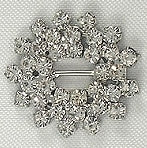 Diamante Ribbon Slider, Crystal Embellishment Flower Cluster -25mm