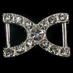Diamante Ribbon Slider, Crystal Embellishment Double Buckle -20mm