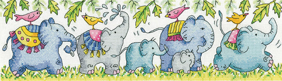 Elephants on Parade Cross Stitch Kit, Heritage Crafts -Karen Carter