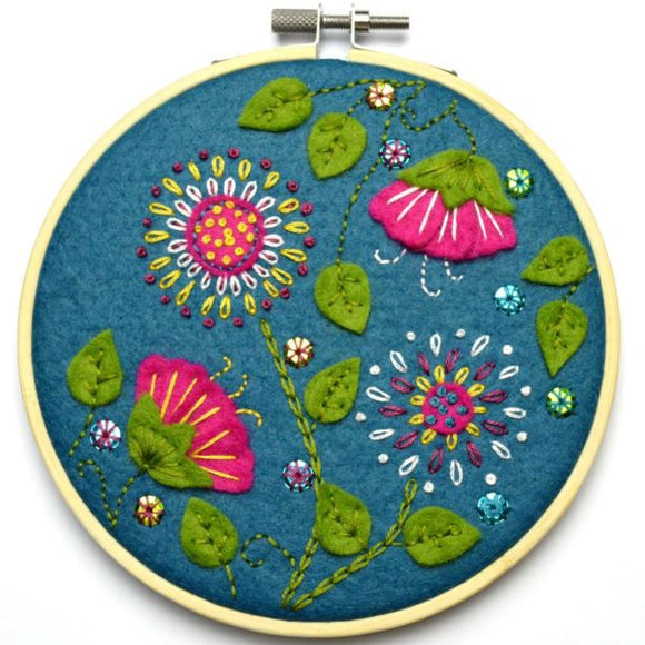 Tropical Flowers Wool Felt Embroidery Kit, with Hoop, Corinne Lapierre