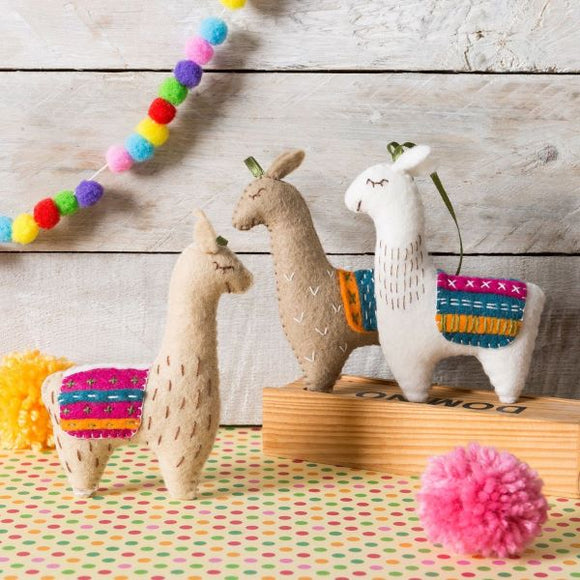 Llamas Wool Felt Embroidery Kit, Corinne Lapierre -set of 3