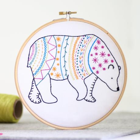 Bear Embroidery Kit with Hoop, Hawthorn Handmade