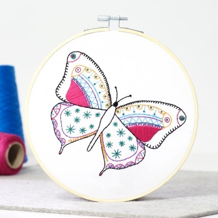 Butterfly Embroidery Kit with Hoop, Hawthorn Handmade