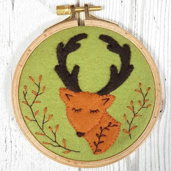Folk Deer Wool Felt Embroidery Kit, with Hoop, Corinne Lapierre