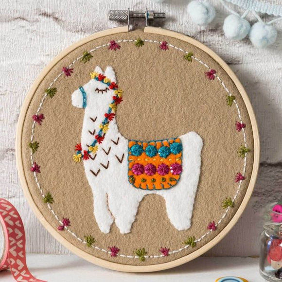 Llama Wool Felt Embroidery Kit, with Hoop, Corinne Lapierre