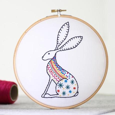 Hare Embroidery Kit with Hoop, Hawthorn Handmade