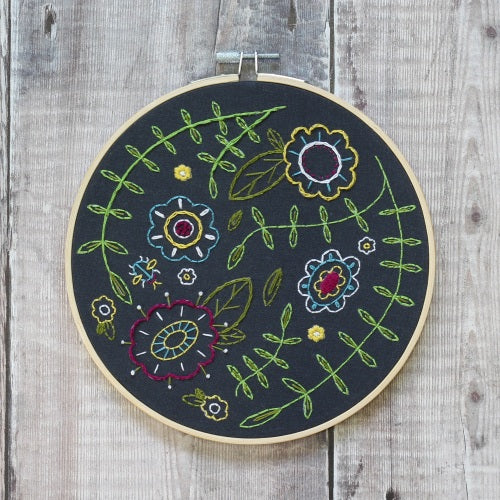 Spring Posy Embroidery Kit (Black) with Hoop, Hawthorn Handmade