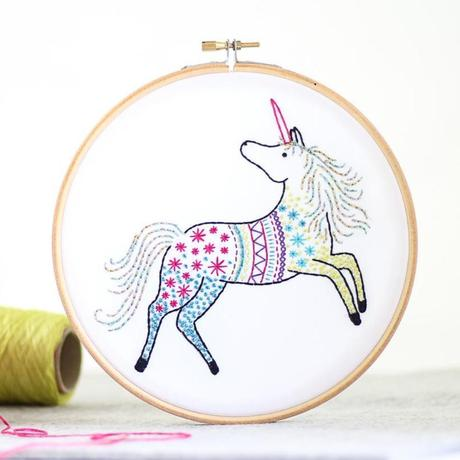 Unicorn Embroidery Kit with Hoop, Hawthorn Handmade