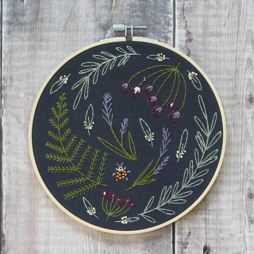 Wildwood Embroidery Kit (Black) with Hoop, Hawthorn Handmade