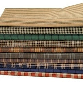 Rustic Plaid Fabrics, Cotton Country Fabric Bundle, Fat Quarters - Set of 8