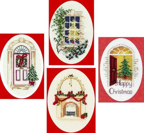 Festive Home Christmas Cross Stitch Greeting Card Kits -SET of 4