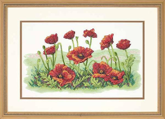 Field of Poppies PRINTED Cross Stitch Kit, Dimensions D03237