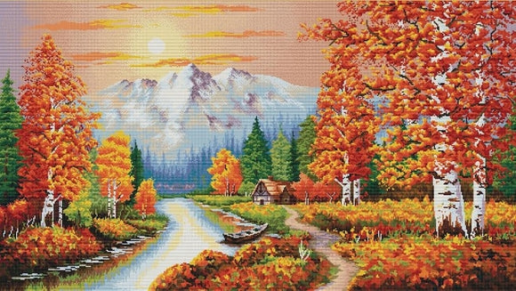 Flaming Sunset NO-COUNT Printed Cross Stitch Kit N940-067