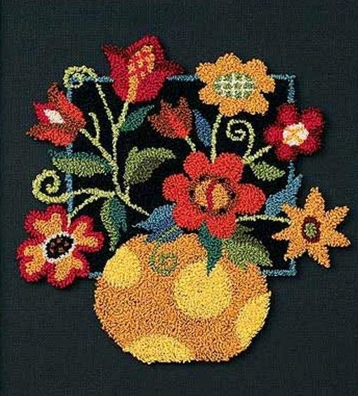 Punch Needle Kit, Floral on Black Punch Needle Embroidery Kit, D73222