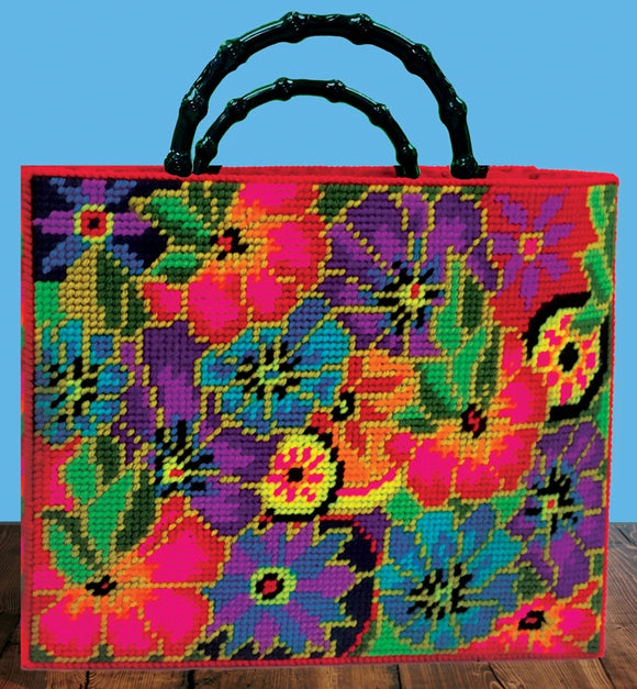 Floral Tote Bag Tapestry Kit COUNTED Plastic Canvas Work, Design Works