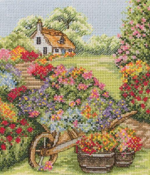 Floral Wheelbarrow Cross Stitch Kit, Anchor PCE749