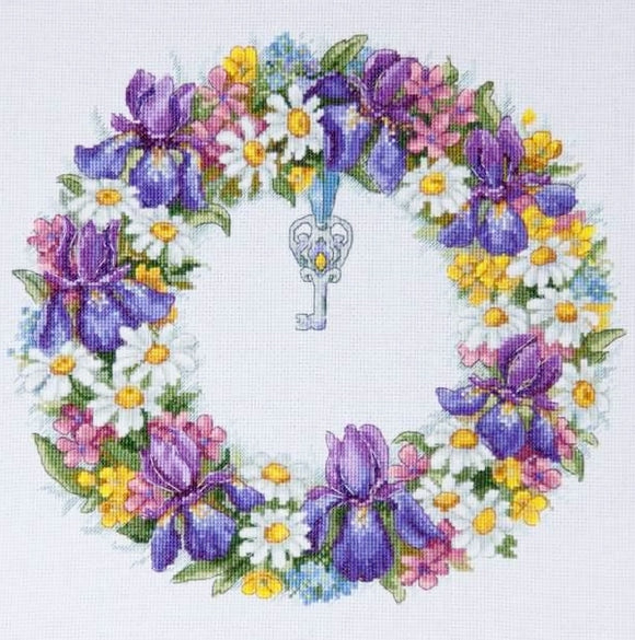 Flower Wreath Cross Stitch Kit, Merejka K-108