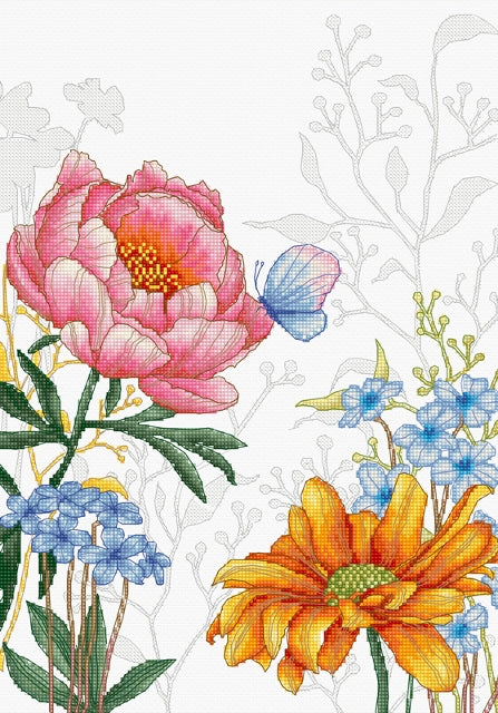 Flowers and Butterfly Cross Stitch Kit Luca-s BU4019