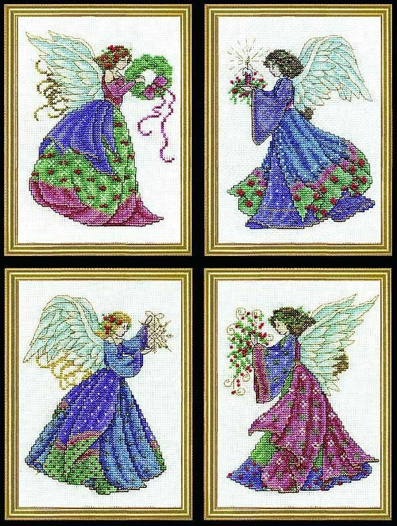 Four Christmas Angels Cross Stitch Kit, Design Works 5985