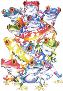 Frog Pile, Tree Frogs Counted Cross Stitch Kit, Design Works 2599