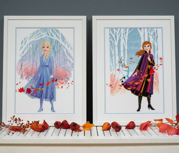 Elsa and Anna Frozen (2) Disney Cross Stitch Kits, Vervaco - PAIR
