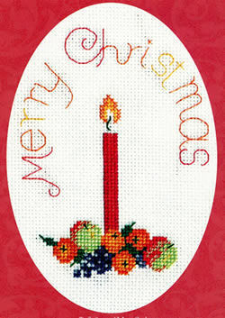 Candle Cross Stitch Christmas Card Kit, Derwentwater Designs