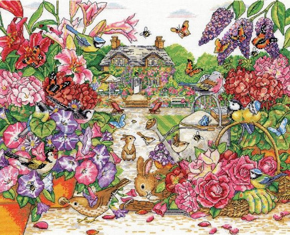 Full Bloom Garden Cross Stitch Kit, Design Works 3393