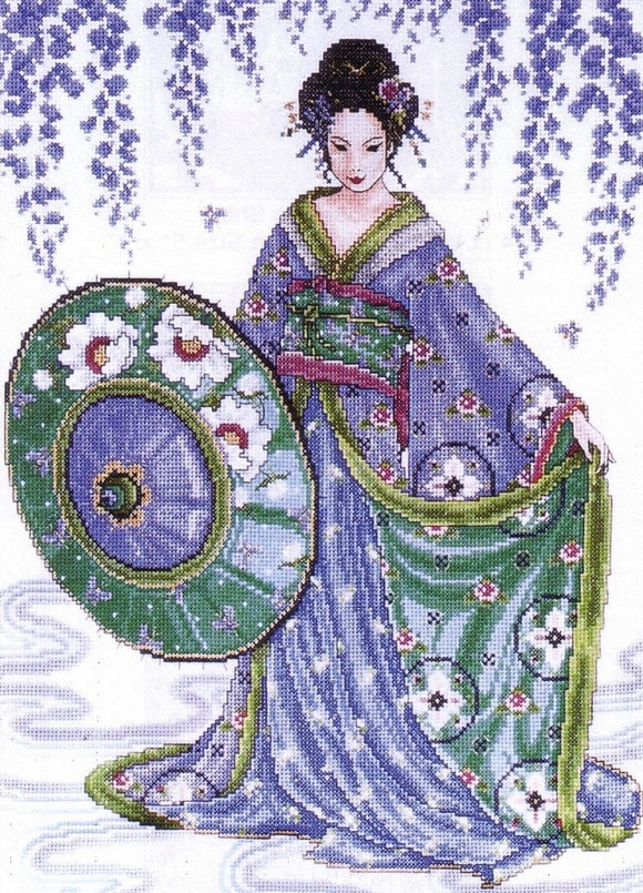 Wisteria Garden Geisha Cross Stitch Kit, Design Works 2551