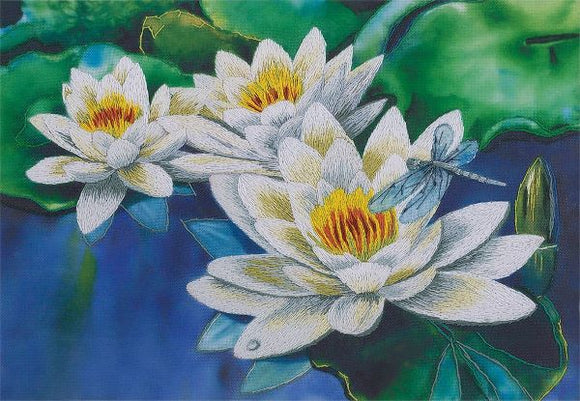 Gentle Lotuses Embroidery Kit, Panna JK-2076