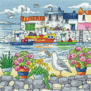 Geranium Shore Cross Stitch Kit, Heritage Crafts -Karen Carter