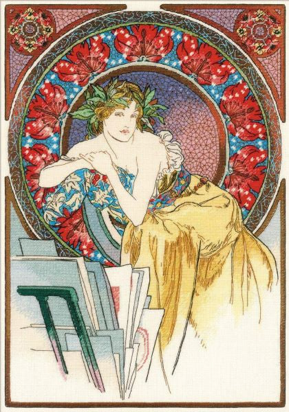 Girl with Easel Cross Stitch Kit, Mucha, Riolis  R100/058