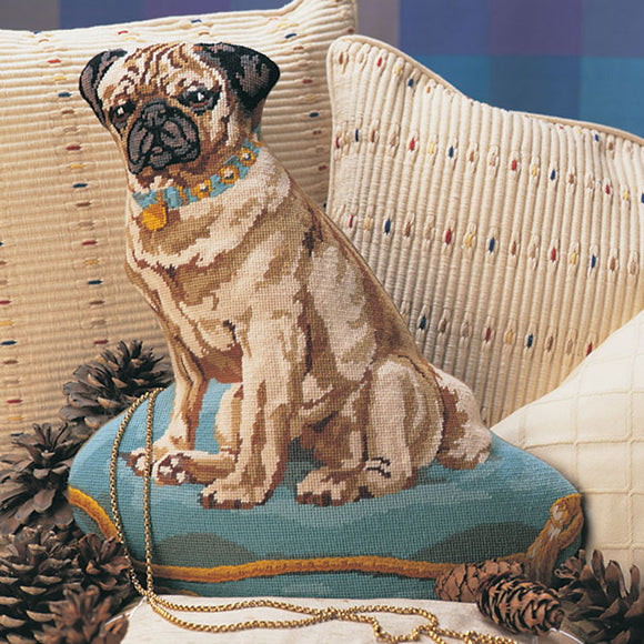Glorafilia Tapestry Kit Needlepoint Kit Turquoise Pug GL4181