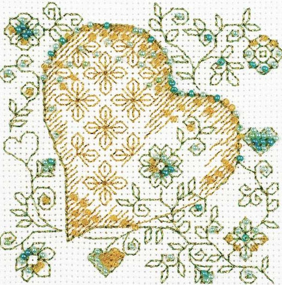 Golden Heart Blackwork Bead Embroidery Kit, Riolis R1353