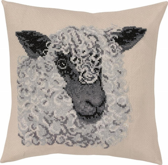 Woolly Sheep Cross Stitch Kit Cushion Permin 83-6103