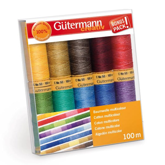 Gutermann Thread Set, NATURAL COTTON Sew-All Sewing Thread, Pack of 10, 734521\1