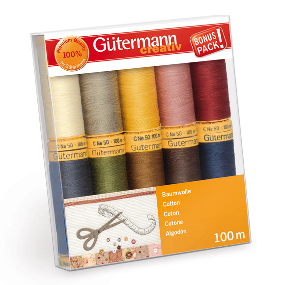 Gutermann Thread Set, NATURAL COTTON Sew-All Sewing Thread, Pack of 10, 734521\3