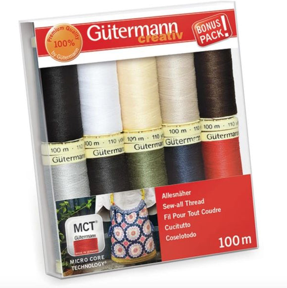 Gutermann Thread Set, Sew-All Strong Sewing Thread, BASICS Pack of 10, 734006\1