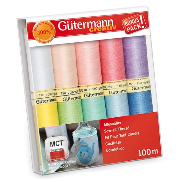 Gutermann Thread Set, Sew-All Strong Sewing Thread, PASTEL Pack of 10, 734006\2
