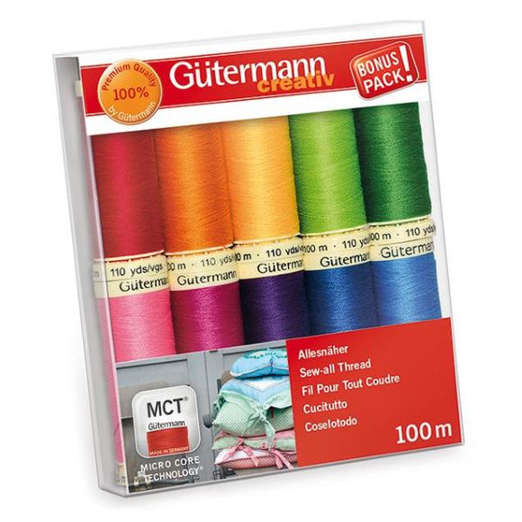 Gutermann Thread Set, Sew-All Strong Sewing Thread, BRIGHT Pack of 10, 734006\3