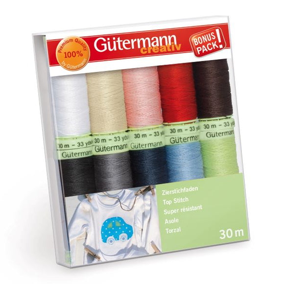 Gutermann Thread Set, EXTRA STRONG Top Stitch Sewing Thread Pack of 10, 731154\1