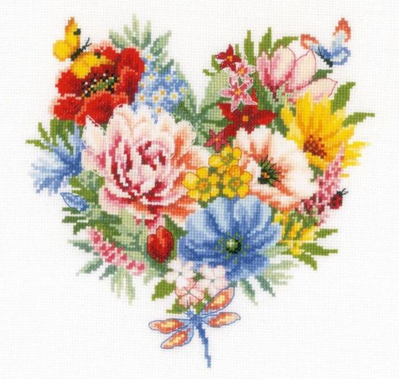 Heart of Flowers Cross Stitch Kit, Vervaco pn-0179766