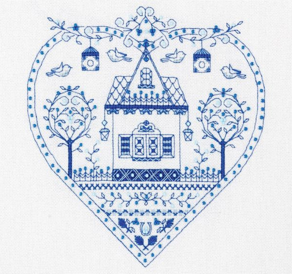 Heart House Sampler Cross Stitch Kit, Panna SO-1402