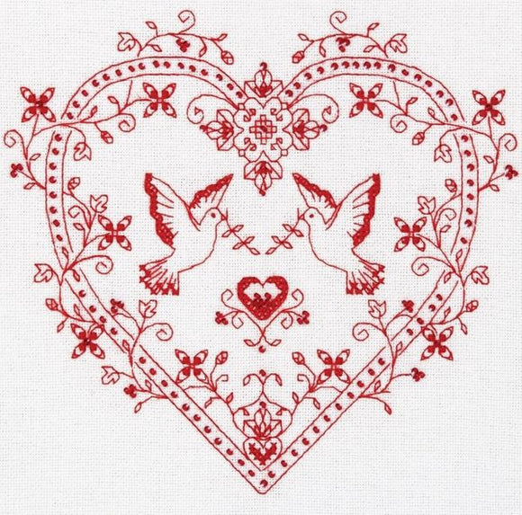 Heart With Doves Sampler Cross Stitch Kit, Panna SO-1403