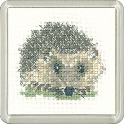 Hedgehog Cross Stitch Kit, Heritage Crafts -Little Friends Coaster/Mini Kit