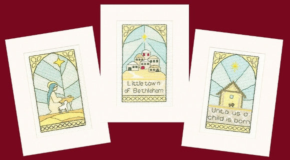 Bethlehem Cross Stitch Christmas Card Kits, Heritage Crafts - SET OF 3