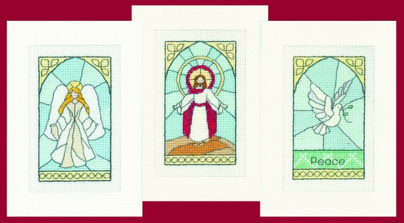 Stained Glass Cross Stitch Christmas Card Kits, Heritage Crafts - SET OF 3