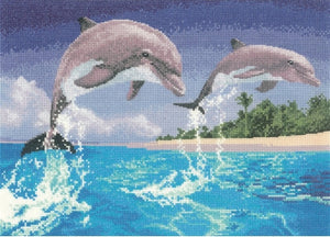 Dolphins Counted Cross Stitch Kit, John Clayton Power and Grace