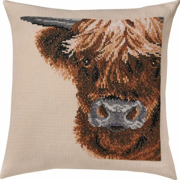 Highland Cow Cross Stitch Kit Cushion Permin 83-6102
